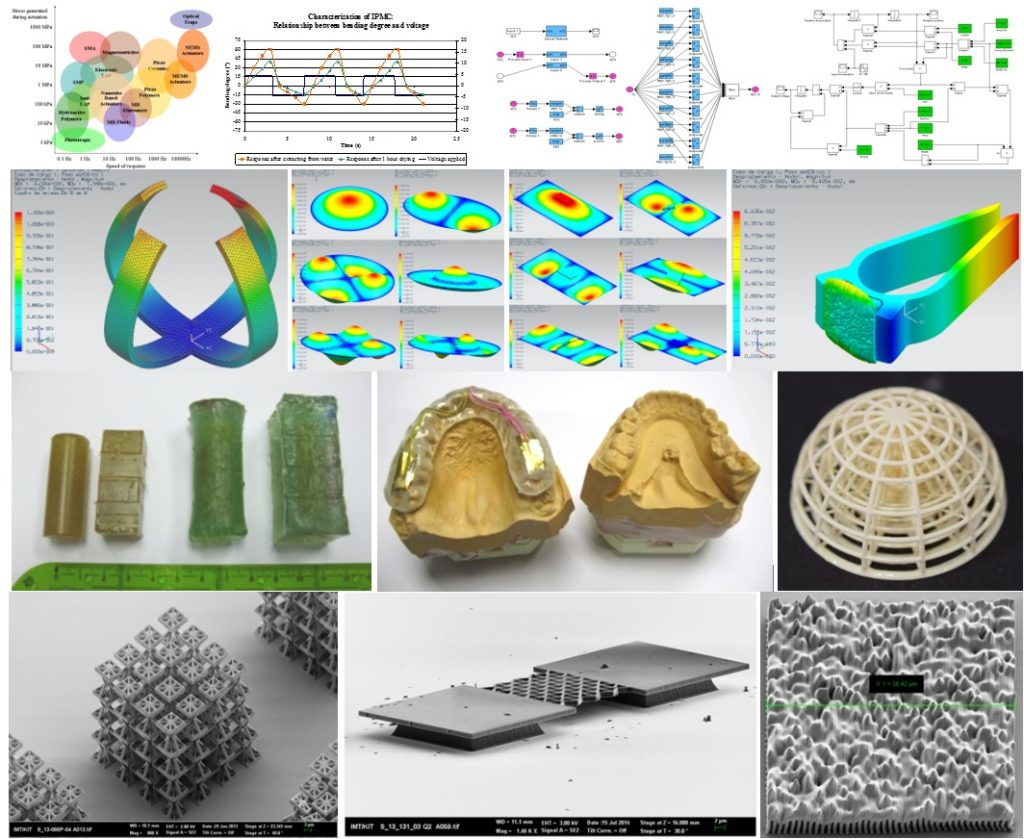 Examples of smart materials and metamaterials: Design, models, prototypes, applications. SEM images of prototypes obtained in collaboration with KNMF-KIT.