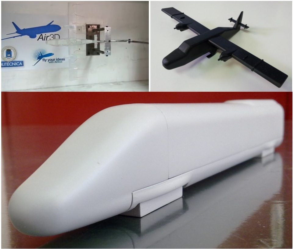 "Prototypes for wind tunnel testing: Airplane model for the ""fly your ideas"" contest. High speed train model with exchangeable frontal for systematic comparative studies"